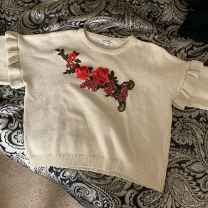 Woven Heart Sweaters - 90s Embroidered Crop Sweater